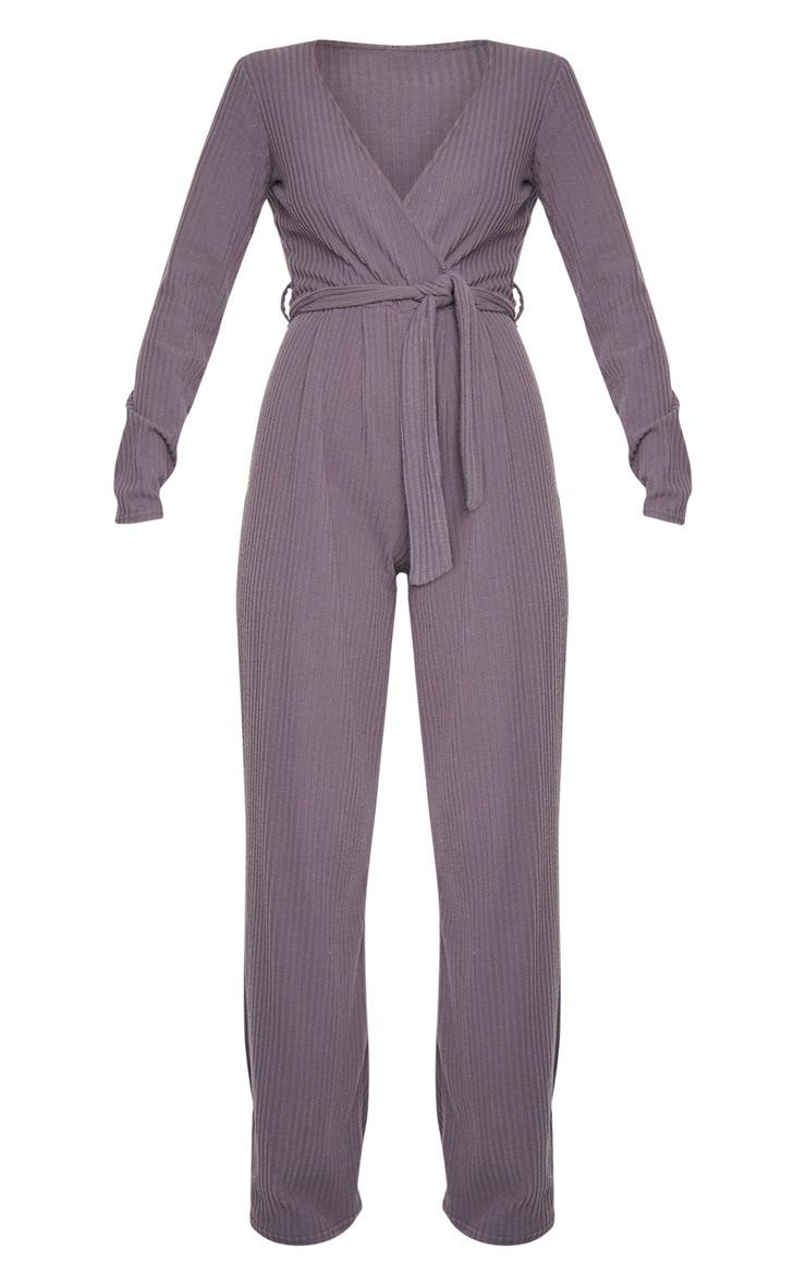 Grey Brushed Rib Wrap Wide Leg Jumpsuit 5