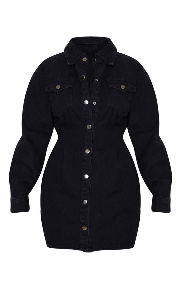 Washed Black Cinched Waist Long Sleeve Denim Dress 3