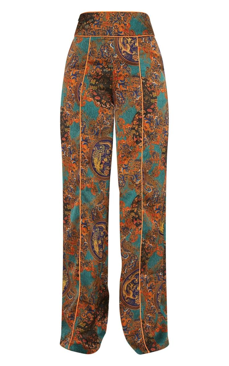 Multi Paisley Print Wide Leg Pants 3