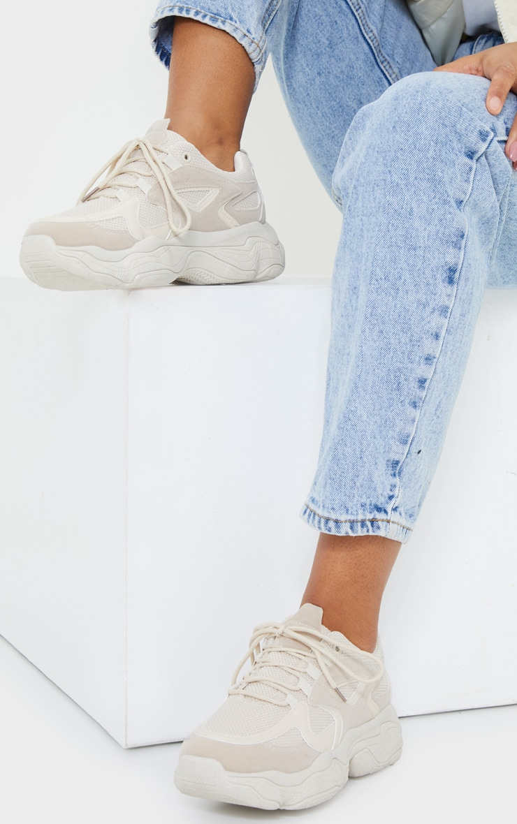 Stone Chunky Bubble Sole Panelled Up Sneakers 1