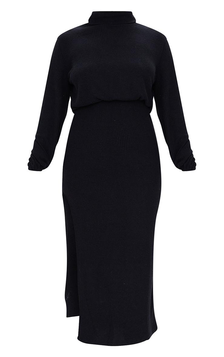 Black Brushed Rib Roll Neck Slit Detail Midi Dress 5