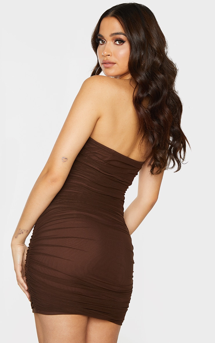 Chocolate Chiffon Corset Detail Ruched Bandeau Bodycon Dress 2
