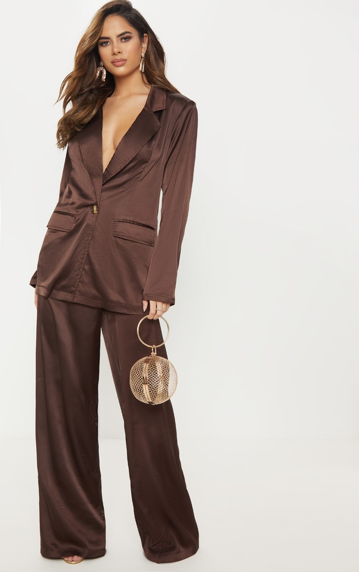 Chocolate Satin Oversized Blazer  1