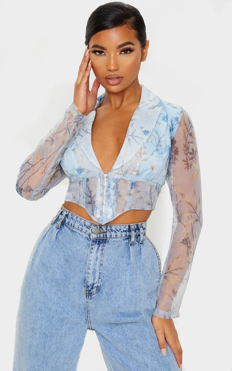 Blue Floral Sheer Organza Pointed Hem Shirt 1