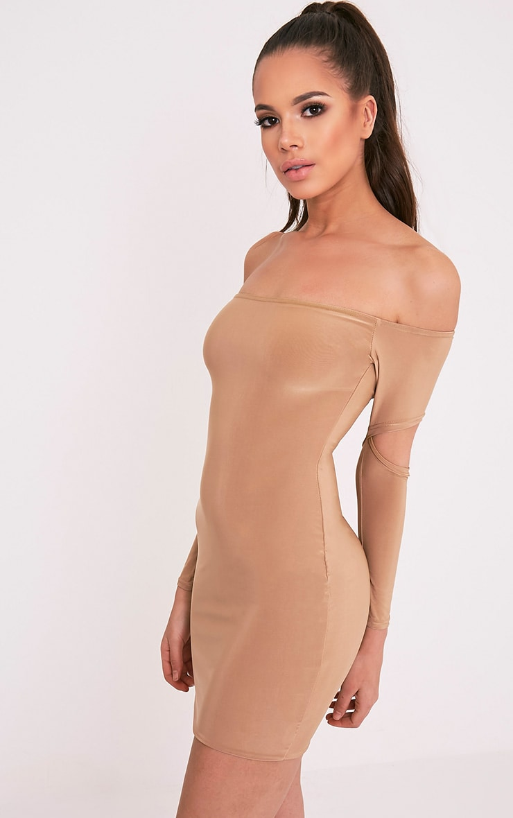 Lorna Camel Slinky Bardot Cut Out Sleeve Bodycon Dress 1