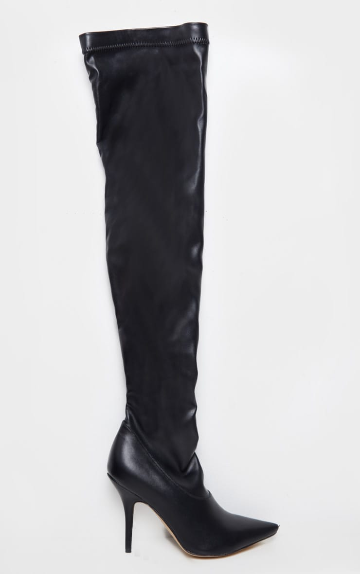 Black PU Thigh High Sock Boot 3