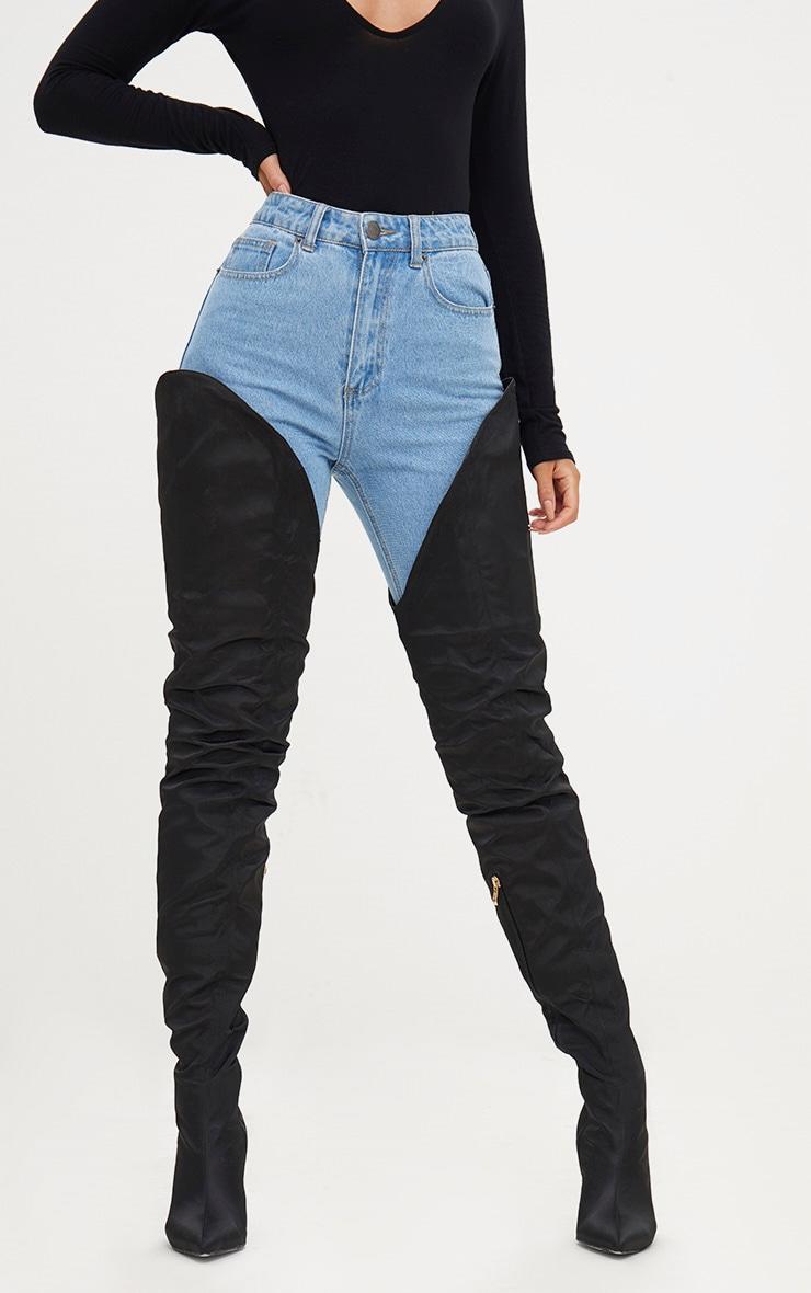 Black Satin Super Thigh High Heeled Boots 2