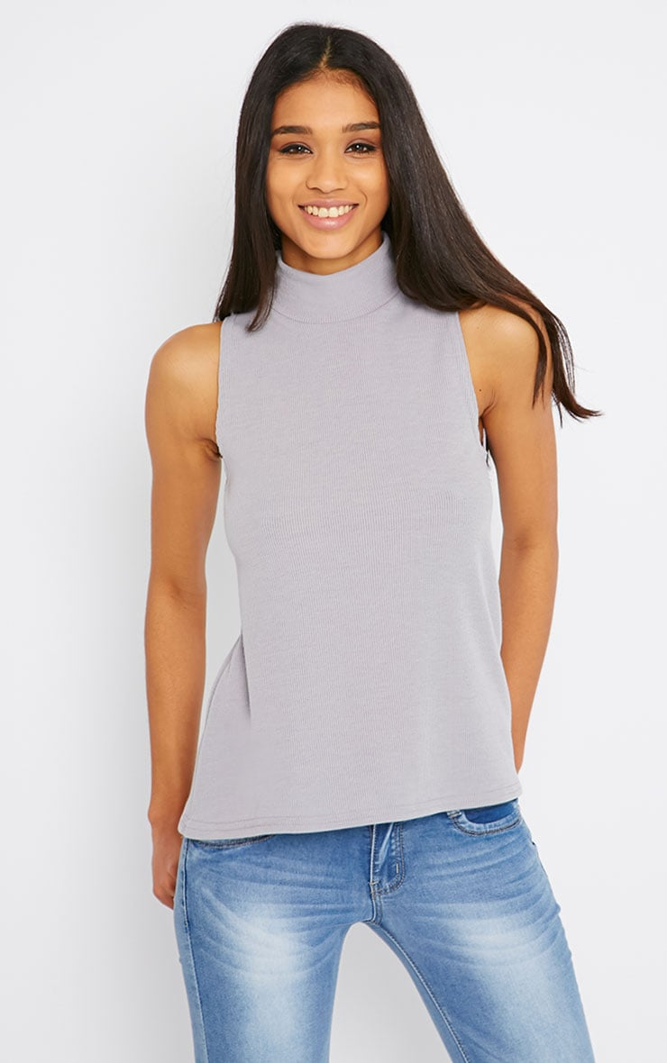 Basic Grey Sleeveless Turtle Neck 4