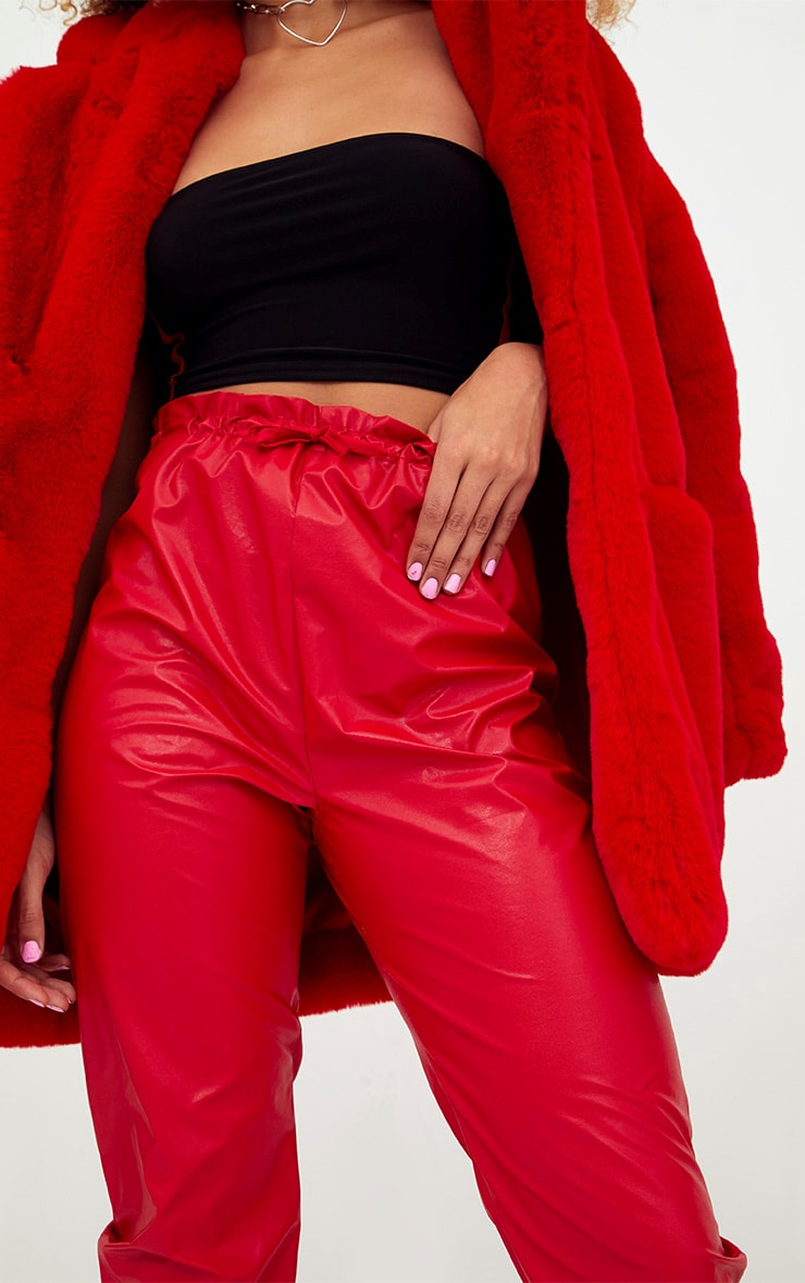 Red Faux Leather Paperbag Joggers 5