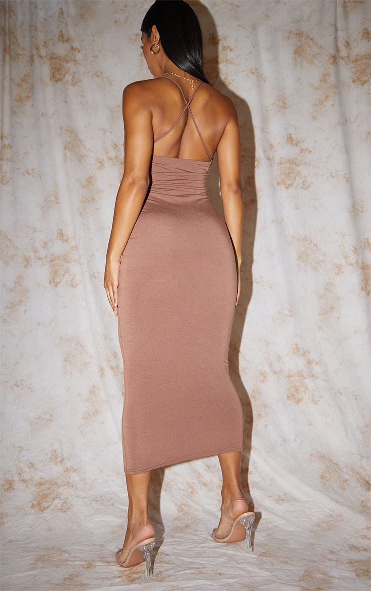 Recycled Chocolate Contour Jersey Strappy Cross Back Midaxi Dress 2