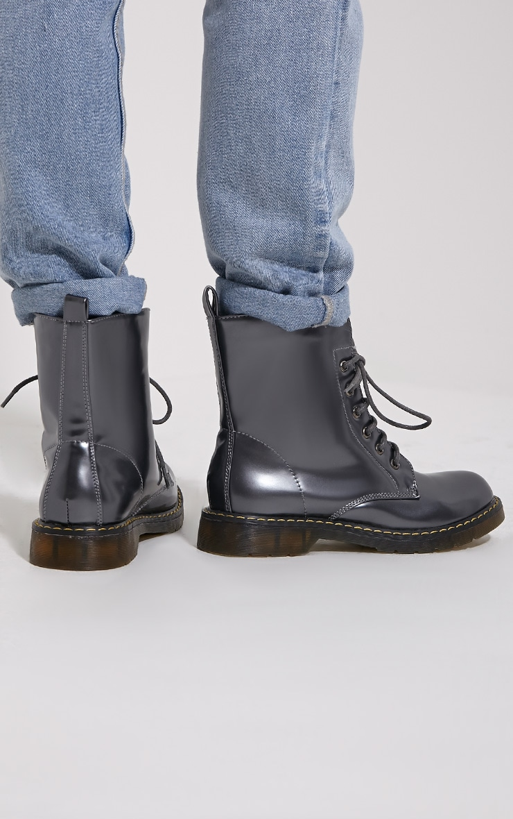 Eleni Grey Metallic Rubber Sole Lace Up Boots 2