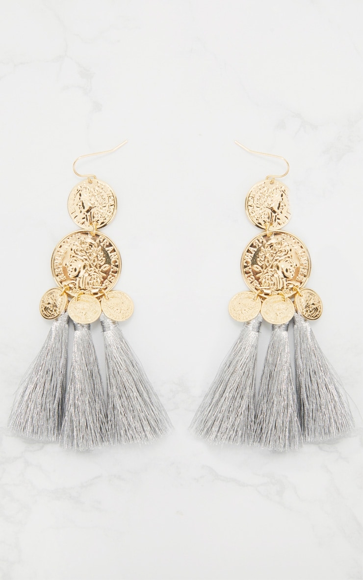 Gold Metallic Coin Drop Silver Tassel Earrings 3