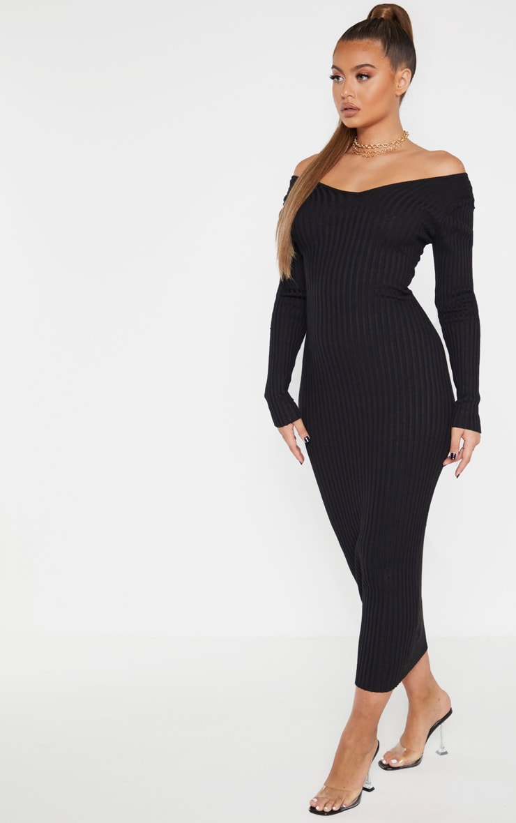 Black Off Shoulder Rib Knitted Midaxi Dress 4