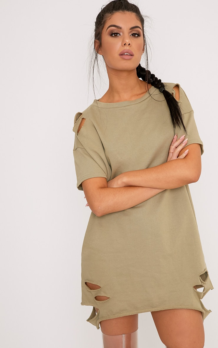 Orla Sage Green Distressed Short Sleeve Sweater Dress 1