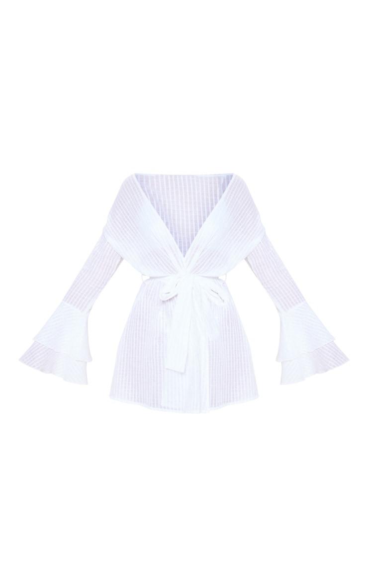 White Check Linen Look Tie Waist Frill Beach Dress 3