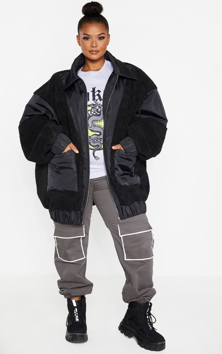 Plus Black Borg Contrast Trim Pocket Front Coat 4