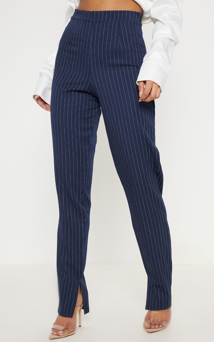 Navy Pinstripe Split Hem Pants 2