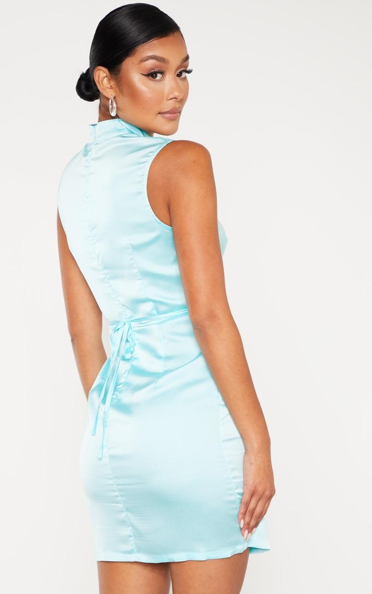 Aqua Blue Satin High Neck Keyhole Detail Bodycon Dress 2