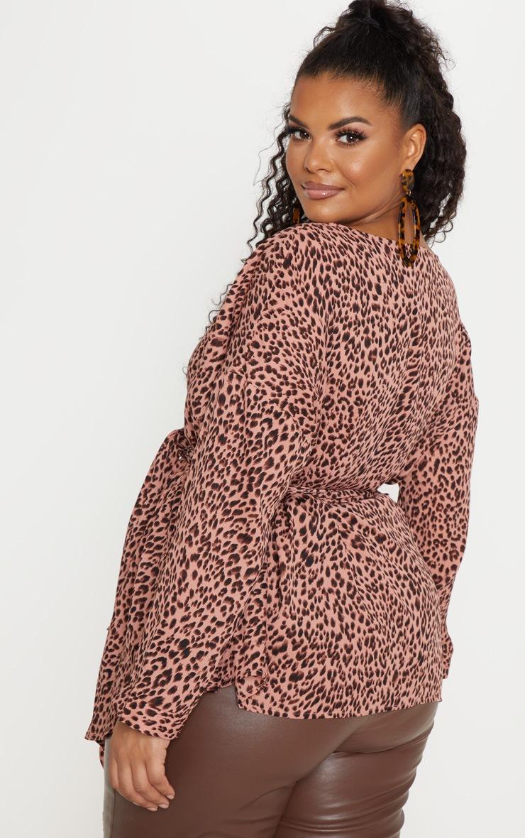 Plus Pink Leopard Woven Tie Waist Blouse 2