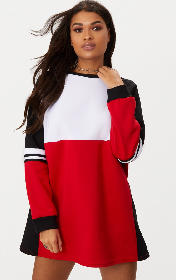 wholesale online search for newest best selling Red Colour Block Jumper Dress