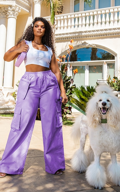 Plus Lilac Zip Pocket Detail Wide Leg Cargo Trousers