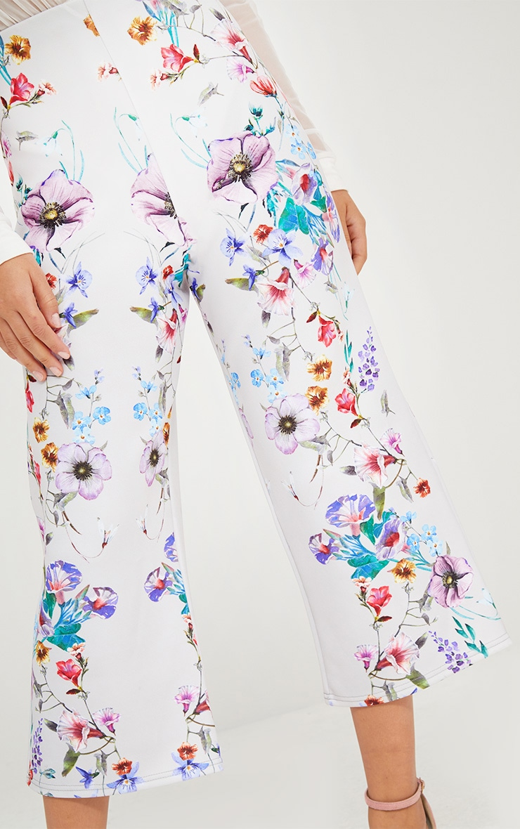 Grey Floral Placement Print Culottes 4