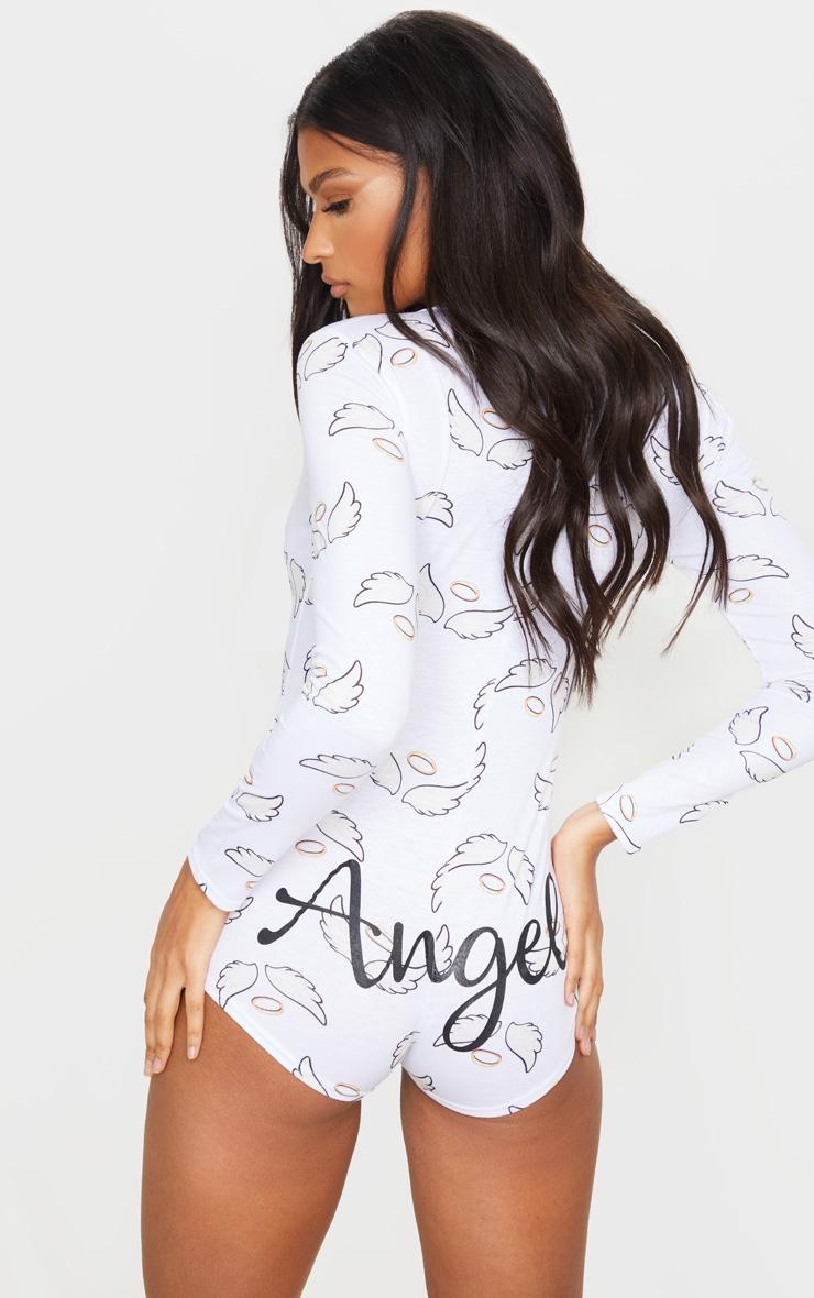 White Angel Printed PJ Romper 1