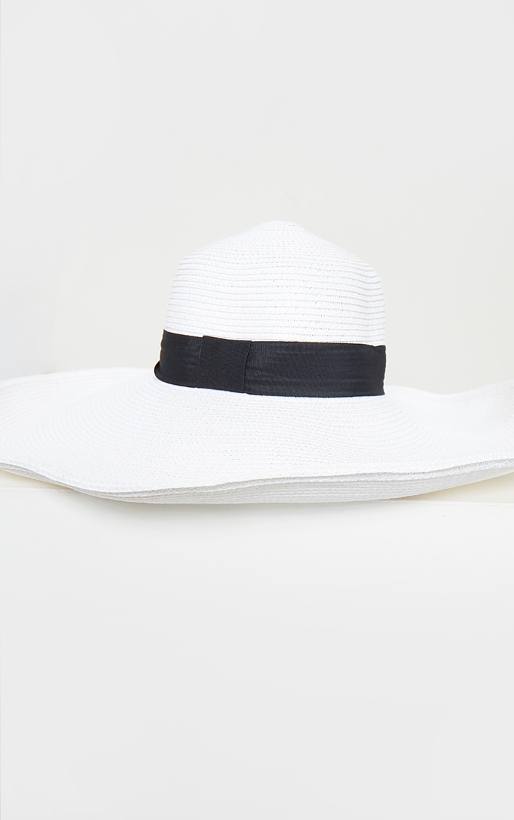 White Straw Wide Boater Hat 2