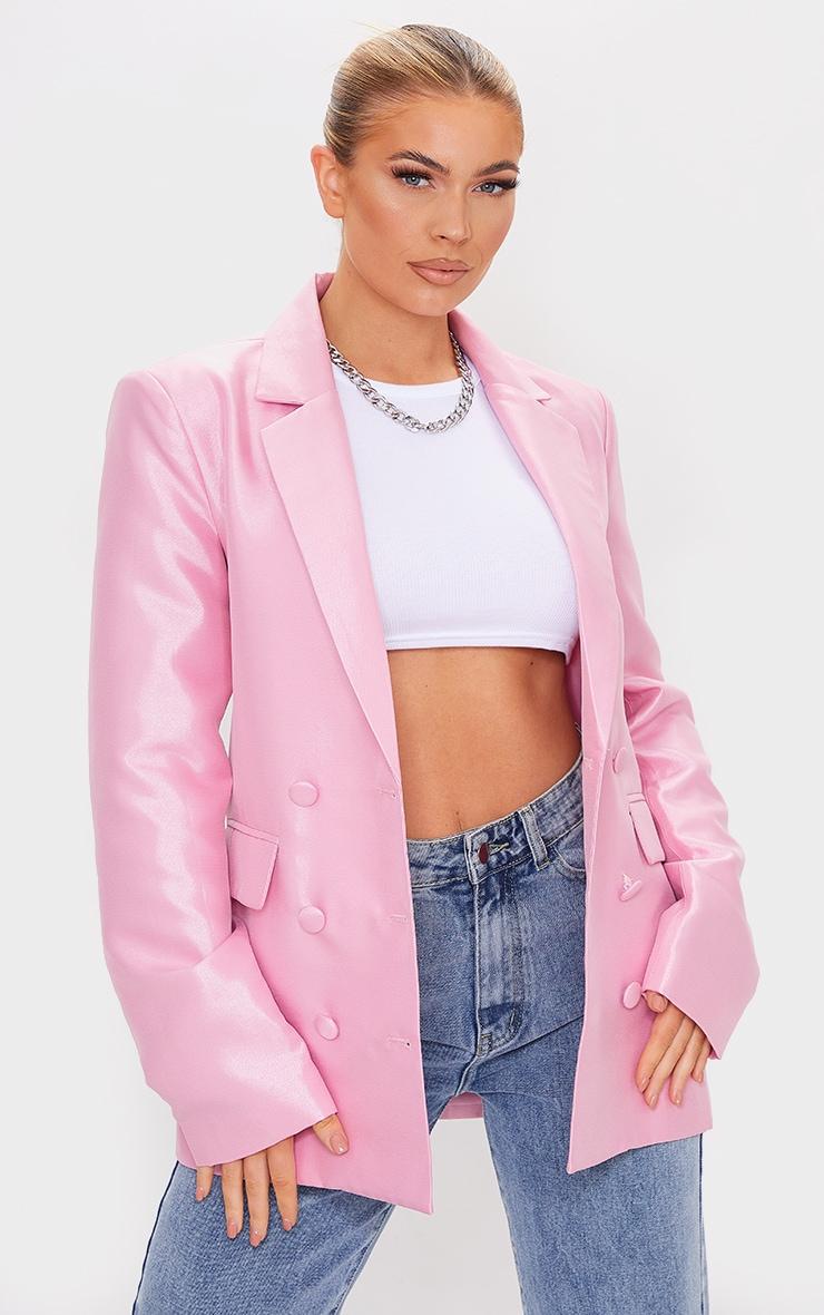 Pink Metallic Woven Oversized Double Breasted Blazer 1