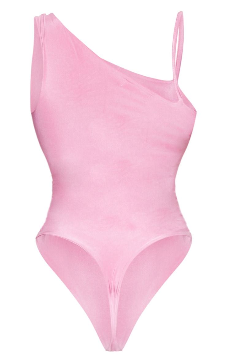 Washed Violet Slinky Front Slit Bodysuit  4