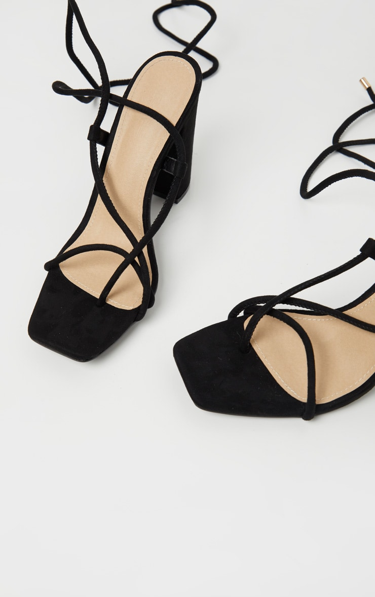Black Ghillie Lace Up Block Heel Sandal 4