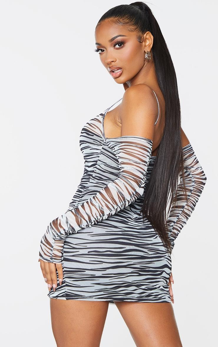 Shape White Zebra Print Mesh Ruched Cup Detail Bodycon Dress 2