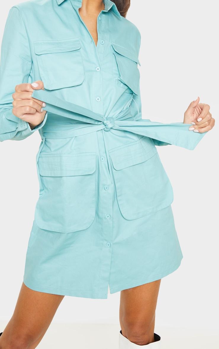 Tall Dusty Turquoise Utility Tie Waist Shirt Dress  5