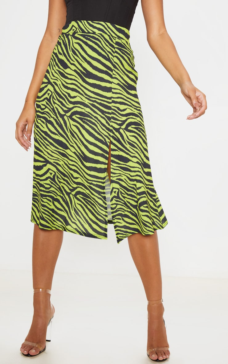 Neon Zebra Print Floaty Midi Skirt 2