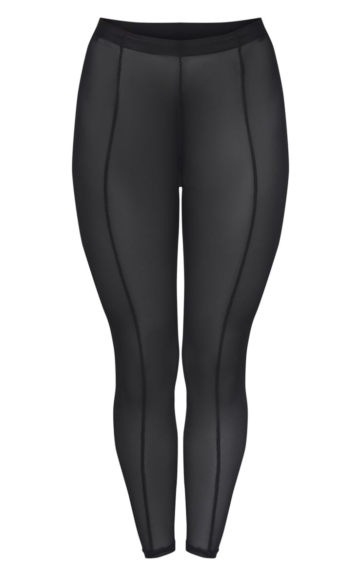Black Mesh Seam Detail Legging 3