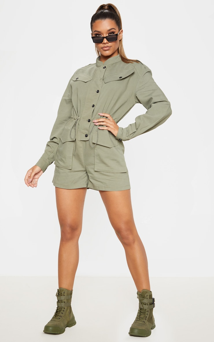Khaki Pocket Detail Utility Style Playsuit 4
