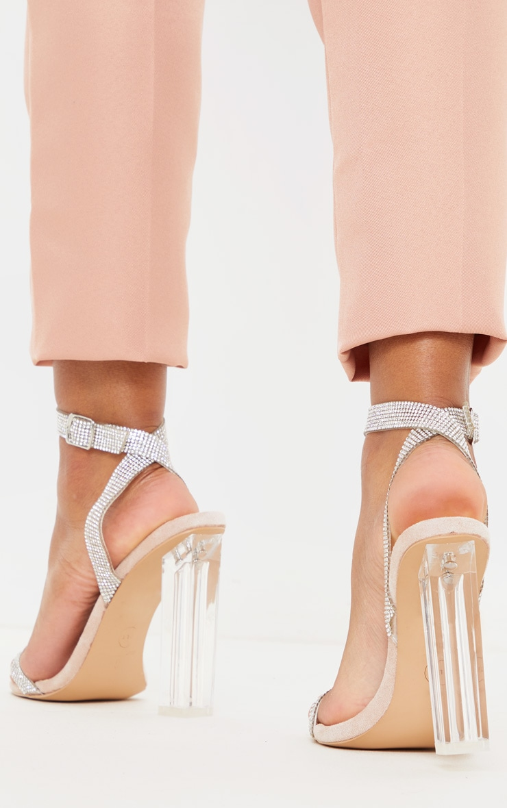 Nude Clear Block Heel Diamante Strap Sandal 2