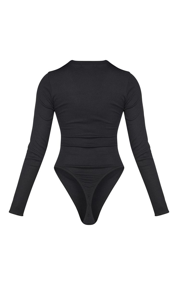 PRETTYLITTLETHING Black Rib Embroidered Bodysuit  4
