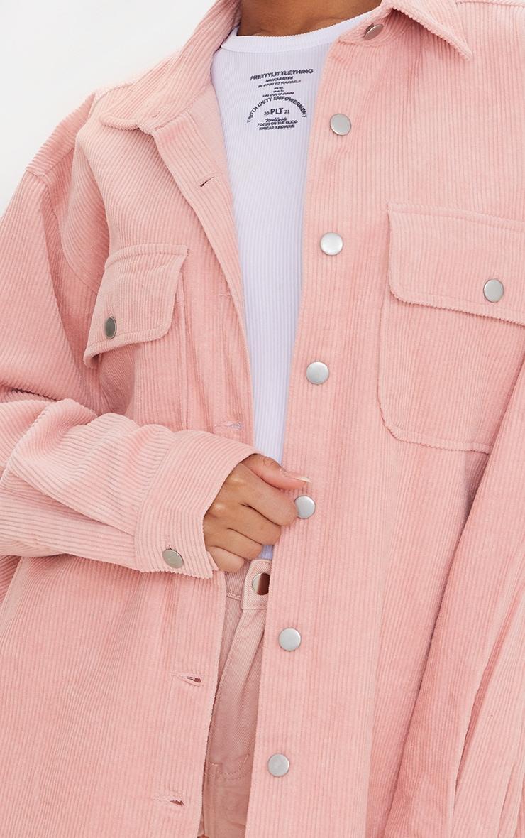 Pink Oversized Cord Shacket 4
