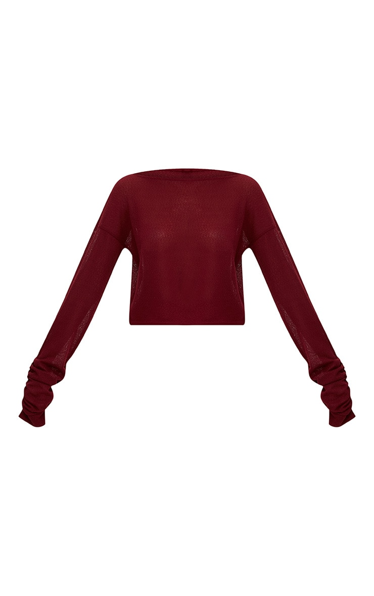 Maroon Lightweight Knit Ruched Sleeve Crop Top  3