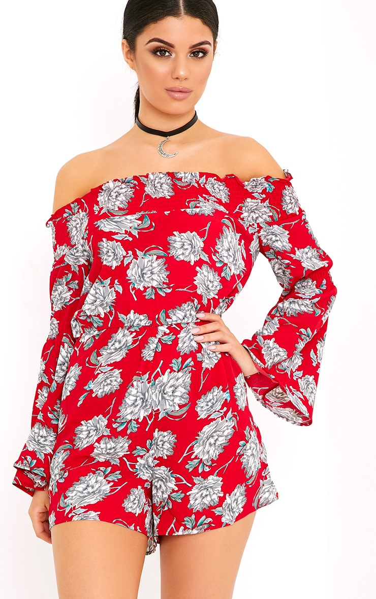 Red Floral Bardot Playsuit 1
