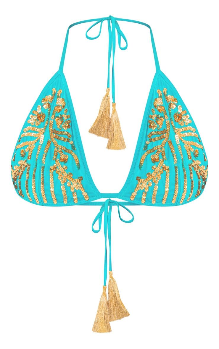 Haut de maillot de bain triangle bleu sarcelle à sequins & franges  3