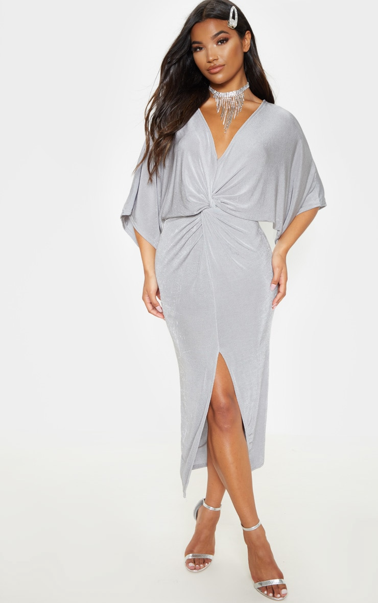Ice Grey Slinky Twist Front Kimono Sleeve Midi Dress 1