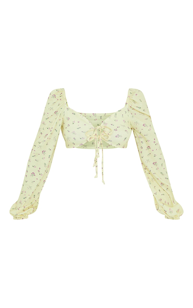 Yellow Ditsy Floral Print Tie Front Balloon Long Sleeve Crop Top 5