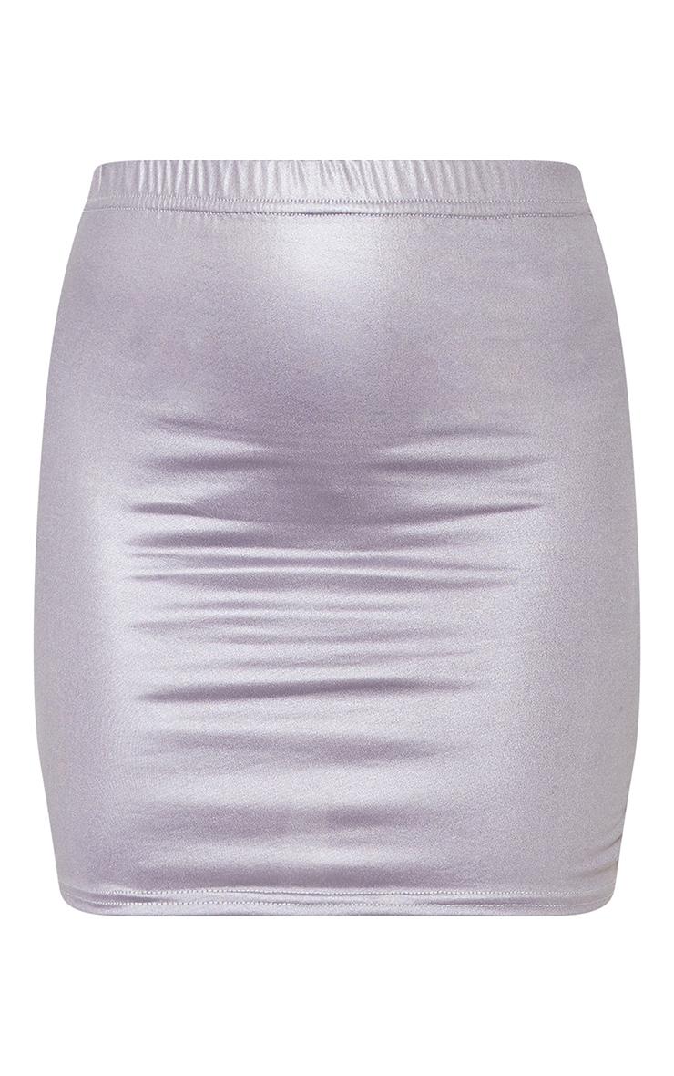 Grey Coated Mini Skirt  3