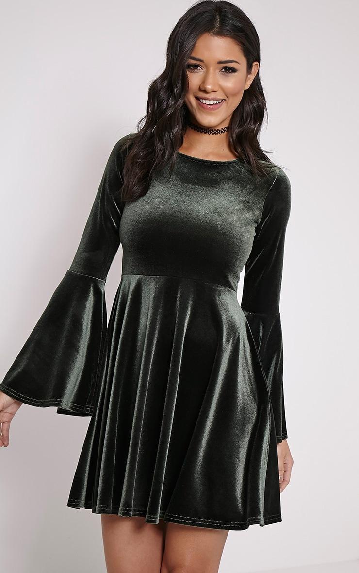 Aisha Khaki Velvet Bell Sleeve Skater Dress 1