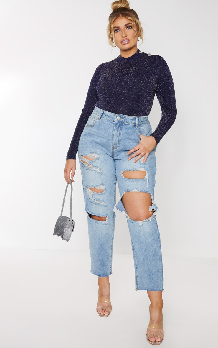 Plus Navy Glitter Button Detail Long Sleeve Crop Top 1