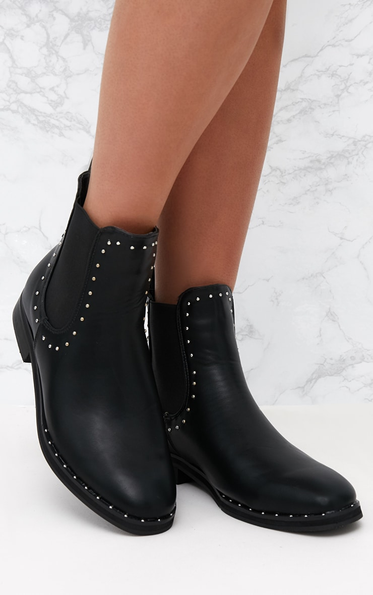 Black PU Studded Chelsea Boot 1