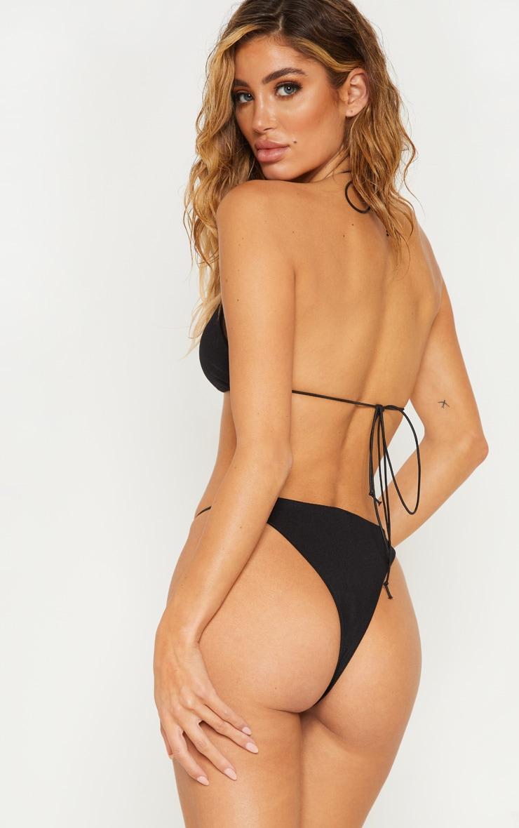 Black Minimal Elastic Triangle Bikini Top 2
