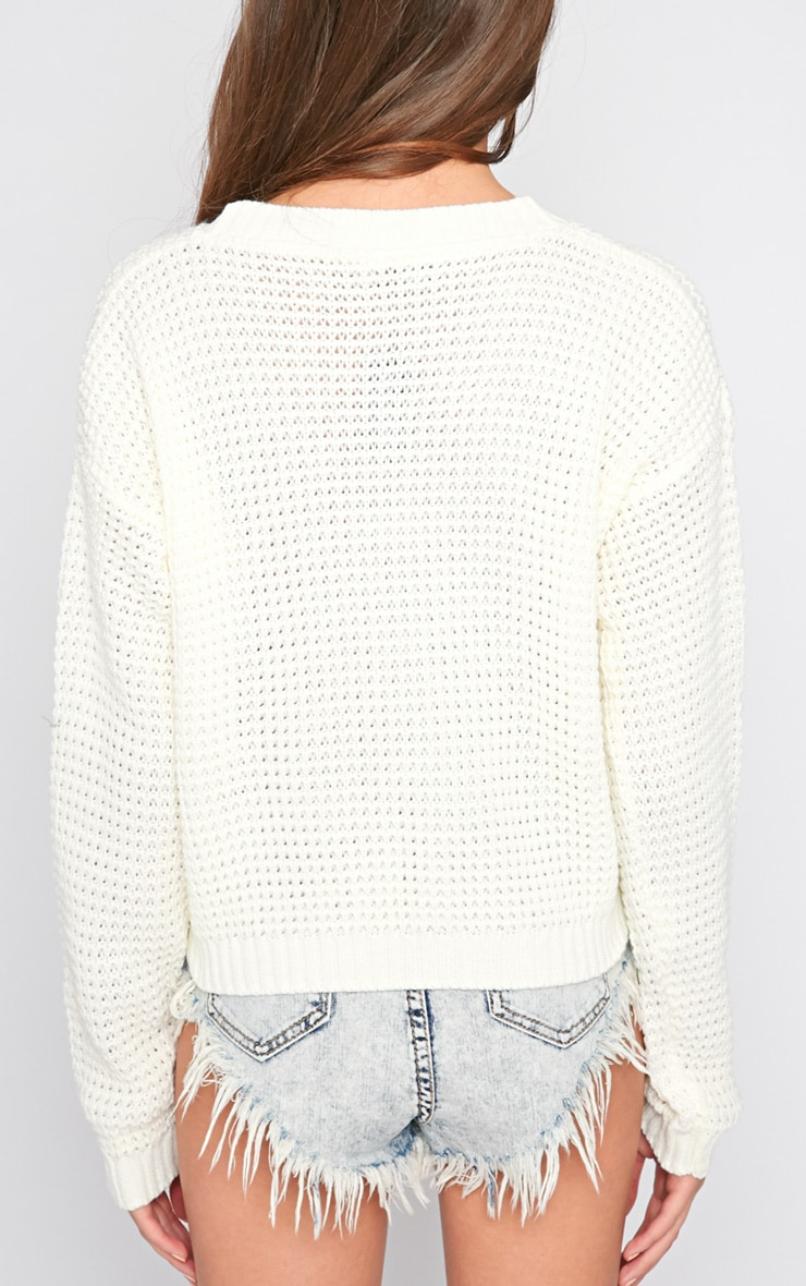 Evie Cream Fisherman Knit Jumper  2